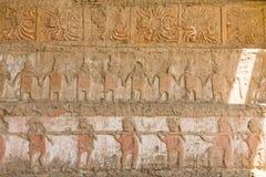 Ein Detail einer Moche-Tempelruine Stockbilder
