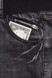 Ein Dollar lösen Jeanstasche ein Lizenzfreie Stockbilder