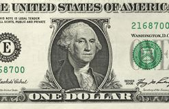 Ein Dollar mit einer Anmerkung 1 Dollar Lizenzfreies Stockfoto
