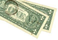 Ein Dollar mit Kaffeeflecken Lizenzfreie Stockfotografie
