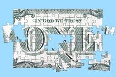 Ein Dollar-Puzzlespiel Stockbild