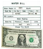 Ein Dollar US u. Wasserrechnung. Getrennt. Konzept. Stockbilder