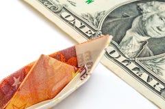 Ein Dollar zehn Euro Lizenzfreies Stockbild