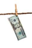 Ein Dollarschein des Bratenfetts 20 auf einer Wäscheleine Lizenzfreie Stockfotos