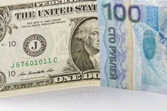 Ein Dollarschein, hundert Rubel Sochis 2014 Stockbild