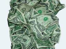 Ein Dollarschein zerknittert im Stapel stockbild