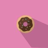 Ein Donut mit Schokoladen-Zuckerglasur-Vektorillustration stock abbildung
