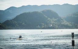 Ein Duo von Ruderern allein auf dem See geblutet lizenzfreie stockfotos
