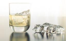 Ein durstlöschendes Glas Tequila auf den Felsen lizenzfreie stockfotografie