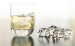 Ein durstlöschendes Glas Tequila auf den Felsen lizenzfreies stockfoto