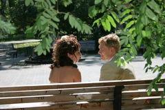 Ein eben verheiratetes Paar. Lizenzfreies Stockfoto