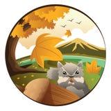 Ein Eichhörnchen in der Herbstsaison Lizenzfreies Stockfoto