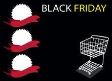 Ein Einkaufswagen und eine Fahne auf Black Friday Backgro Lizenzfreie Stockfotografie