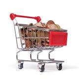 Ein Einkaufswagen wird mit GutEuro Münzen gefüllt Stockbilder