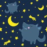 Ein einsamer netter Wolf betrachtet den Mond, um viele Sterne und einen Kometen lizenzfreie abbildung