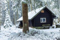 Ein einsames Blockhaus Stockfoto