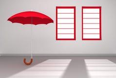 Roter Regenschirm in einem weißen Raum mit Windows Stockbilder