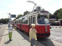 Ein Eisenbahnwagen in Wien, Österreich Lizenzfreies Stockbild