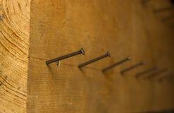 Ein Eisennagel wird in das Brett gefahren Hintergrund lizenzfreies stockbild