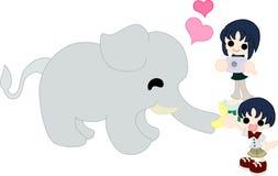 Ein Elefant, der eine Banane isst Lizenzfreies Stockbild