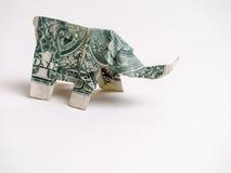 Ein Elefant Dollarschein-Origami Stockfoto
