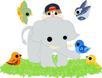 Ein Elefant und kleinen Vögel Stockbilder