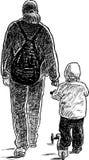 Ein Elternteil geht mit seinem Kind Stockbild