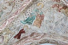 Ein Engel, der Adam und Eve vom Paradies wegtreibt Stockfoto