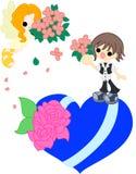 Ein Engel und ein Blumenstrauß Stockbilder