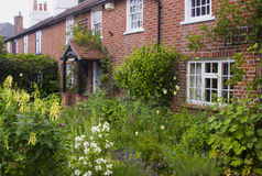 Ein englischer Häuschen-Garten in Warsash in Hampshire, das einen Aufstand der chaotischen Farbe im Frühsommer zeigt Lizenzfreie Stockfotos