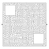 Ein enormes quadratisches Labyrinth mit einem Eingang und einem Ausgang Einfache flache Vektorillustration lokalisiert auf weißem Lizenzfreie Abbildung