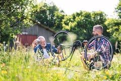 Ein erwachsener Hippie-Sohn und ein älterer Vater, die Fahrrad draußen an einem sonnigen Tag reparieren stockfotos
