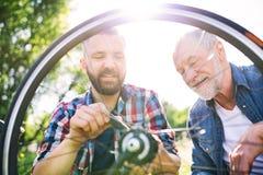 Ein erwachsener Hippie-Sohn und ein älterer Vater, die Fahrrad draußen an einem sonnigen Tag reparieren stockbild