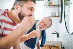 Ein erwachsener Hippie-Sohn und bürstenden Zähne des älteren Vaters zuhause zu Hause lizenzfreie stockfotos