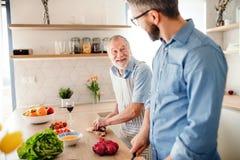 Ein erwachsener Hippie-Sohn und ein ?lterer Vater zuhause zu Hause, kochend stockbild