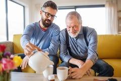 Ein erwachsener Sohn und ein älterer Vater, die zuhause auf Sofa zu Hause, Tee trinkend sitzt lizenzfreies stockfoto