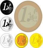 Ein-Euro-Münzen lizenzfreie abbildung