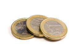 Ein-Euro-Münzen Stockfotos
