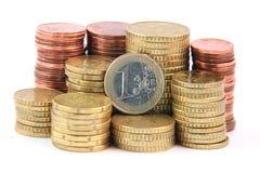 Ein Euro und Änderung Lizenzfreies Stockbild