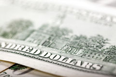 USA hundert Dollarschein-Makro- Lizenzfreie Stockfotos