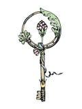 Ein fabelhafter Schlüssel mit Blumendekor und Band Lizenzfreie Stockbilder