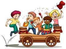 Ein fahrender Wagen mit Kindern lizenzfreie abbildung