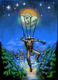 Ein Fallschirmspringer fliegt unten auf den Mond Lizenzfreie Abbildung