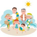 Ein Familienurlaub auf dem strandnahen Lizenzfreie Stockfotos
