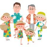 Ein Familienurlaub auf dem strandnahen Stockbilder