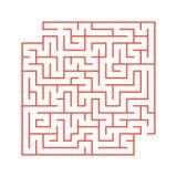 Ein farbiges abstraktes quadratisches Labyrinth mit einem Eingang und einem Ausgang Einfache flache Vektorillustration lokalisier Lizenzfreie Abbildung
