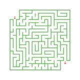 Ein farbiges abstraktes quadratisches Labyrinth mit einem Eingang und einem Ausgang Einfache flache Vektorillustration lokalisier Vektor Abbildung