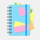 Ein farbiges geschlossenes Notizbuch auf einem Frühling mit Bookmarks zwischen Seiten Eine einfache flache Vektorillustration lok Lizenzfreie Abbildung