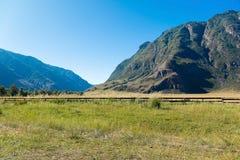 Ein Feld mit Blick auf die Berge im Tal des Chulyshman-Flusses, Altai-Republik, Russland stockbild