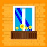 Ein Fenster mit Blumen im Topf Ansicht draußen von der Straße Fenster auf Backsteinmauer Auch im corel abgehobenen Betrag Flache  vektor abbildung